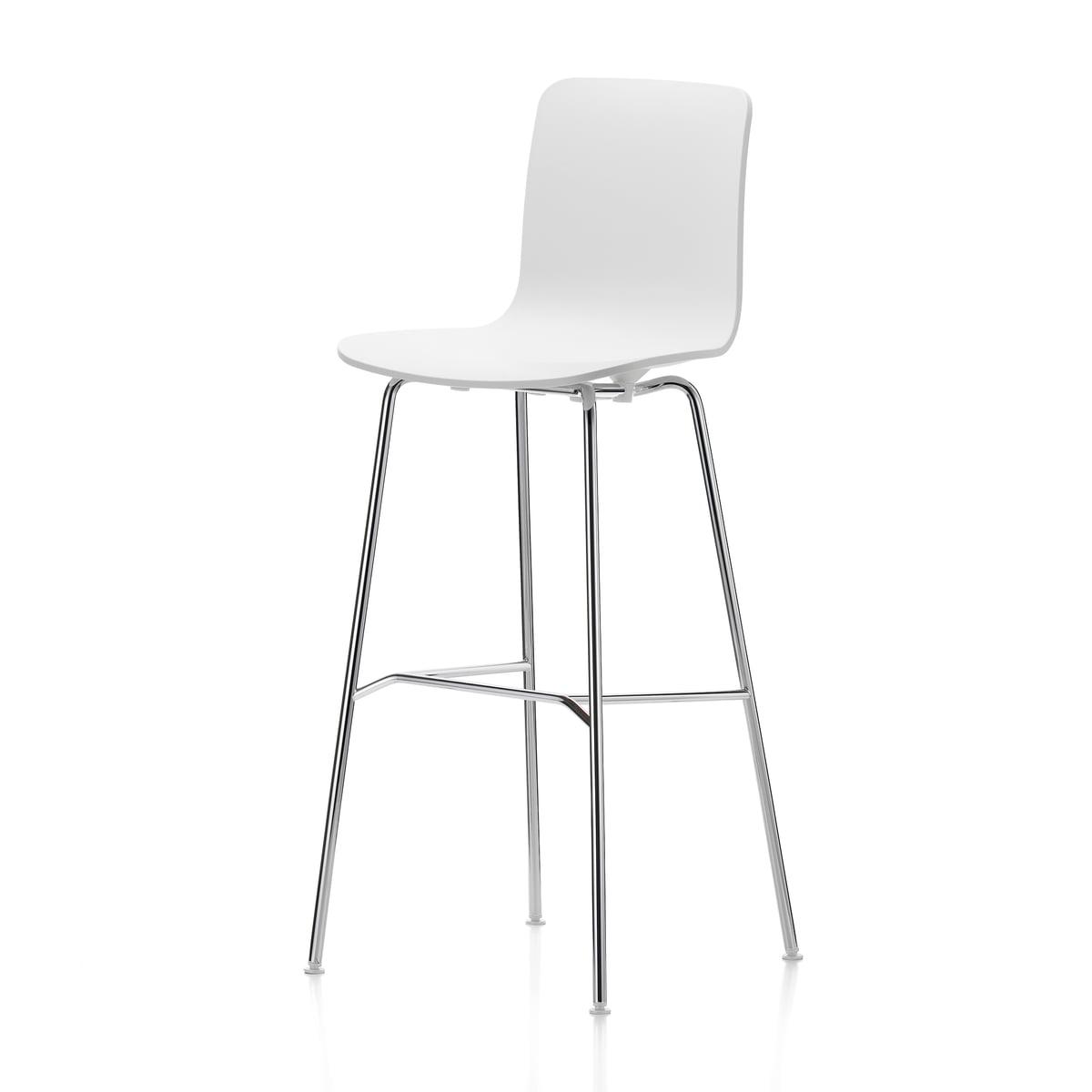 Vitra - Hal Barhocker, hoch, weiß / chrom / Kunststoffgleiter | Küche und Esszimmer > Bar-Möbel | Vitra