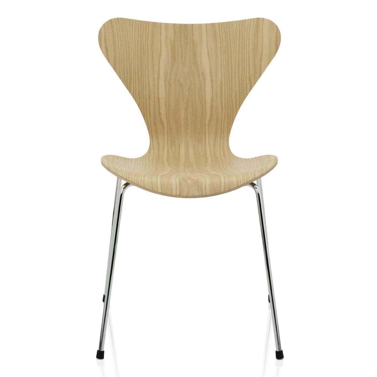 Serie 7 Stuhl, Eiche Natur, verchromt, 46.5 cm