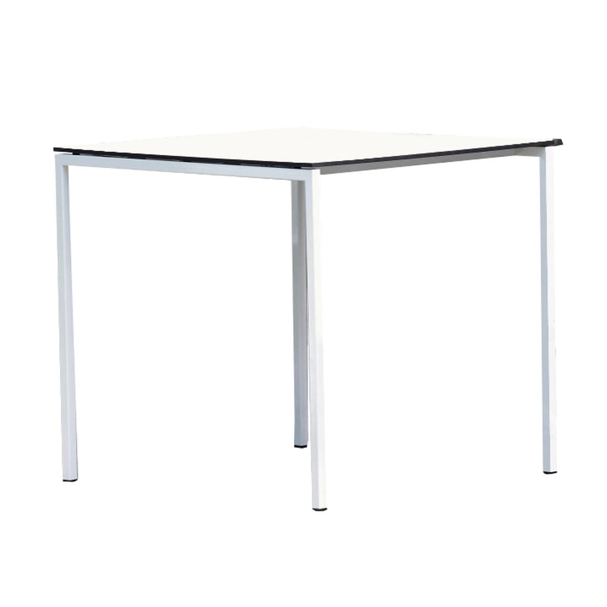 Tisch White, weiß / anthrazit, 75 x 75 cm