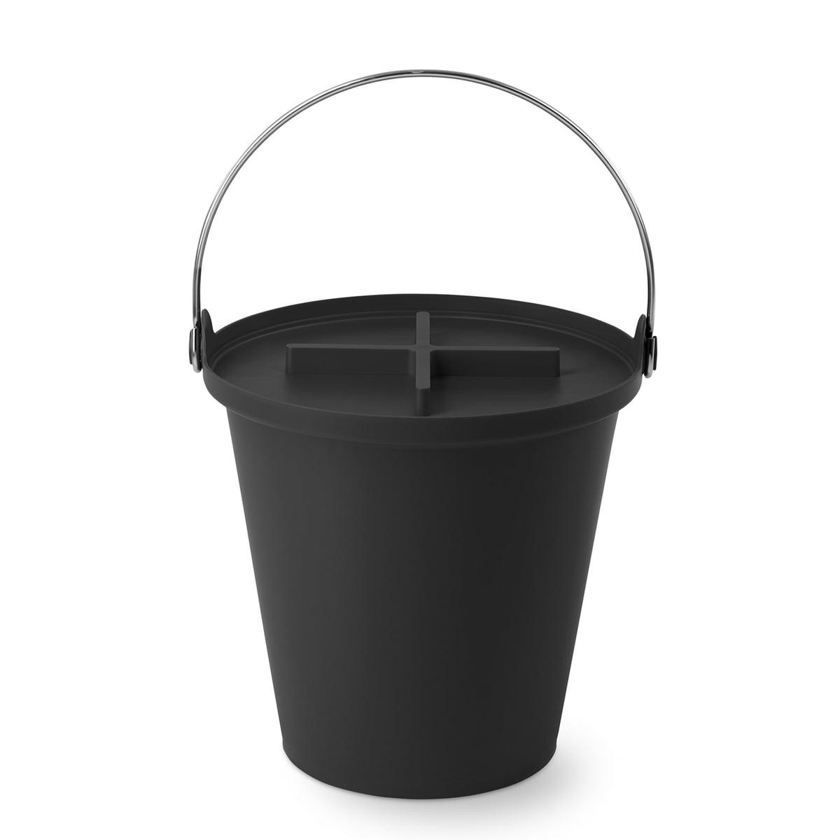 H2O Eimer + Deckel, schwarz / Metall