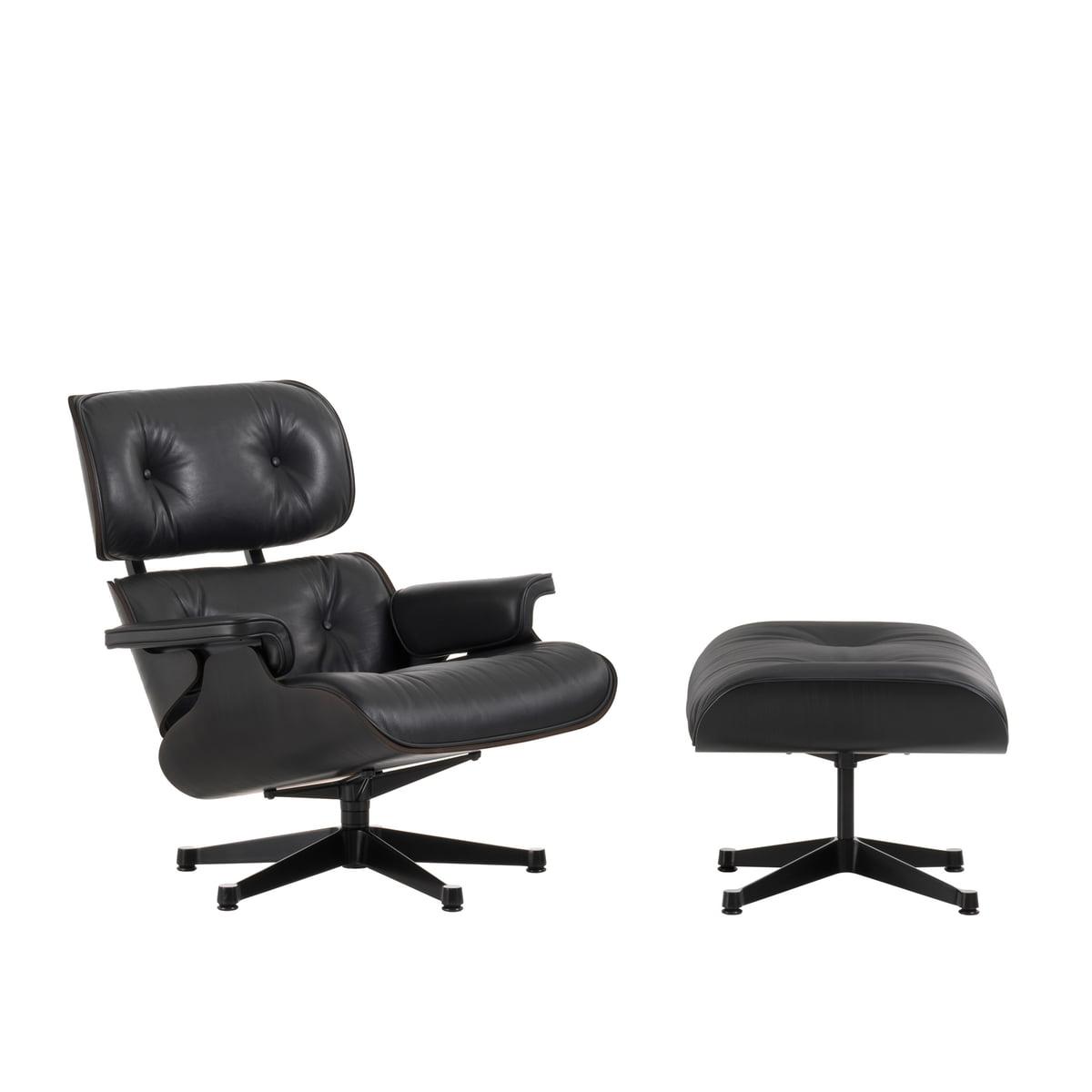 Lounge Chair & Ottoman, schwarz / schwarz, Esche schwarz, Filzgleiter (neue Maße)
