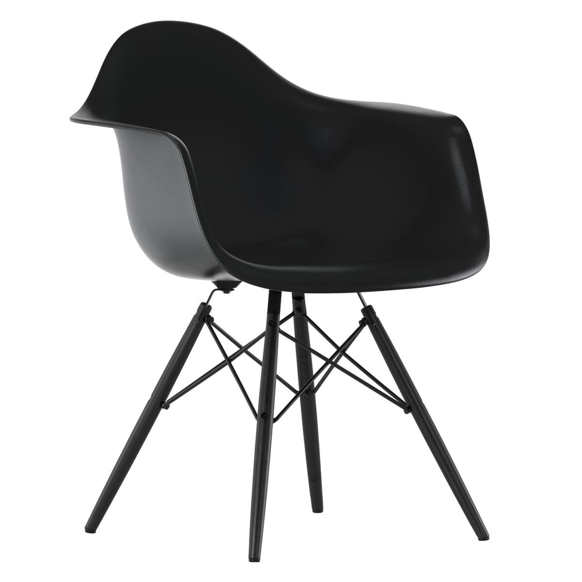 Eames Plastic Armchair DAW (H 41,5 cm), Ahorn schwarz / basic dark, Filzgleiter
