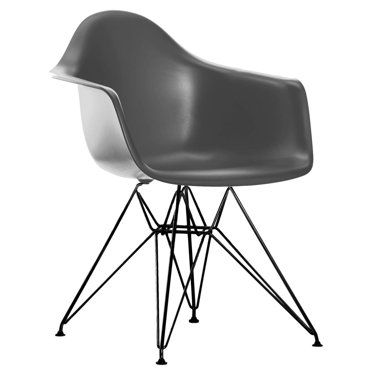 Eames Plastic Armchair DAR (H 41,5 cm), schwarz / basalt, Filzgleiter