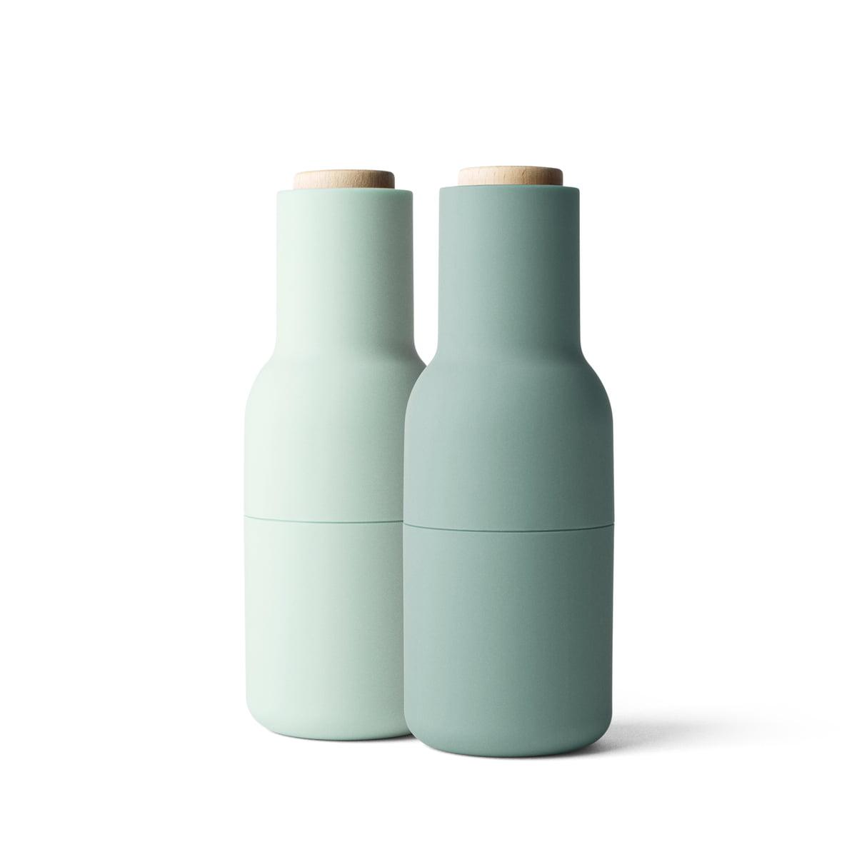 Bottle Salz- und Pfeffermühlen Set, klein, moss (Holzdeckel)