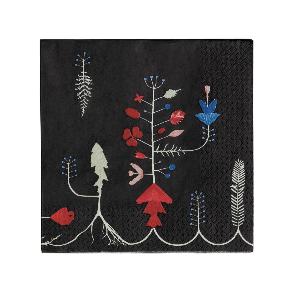 Sarjaton Papier-Serviette 33 x 33 cm, Varpu schwarz