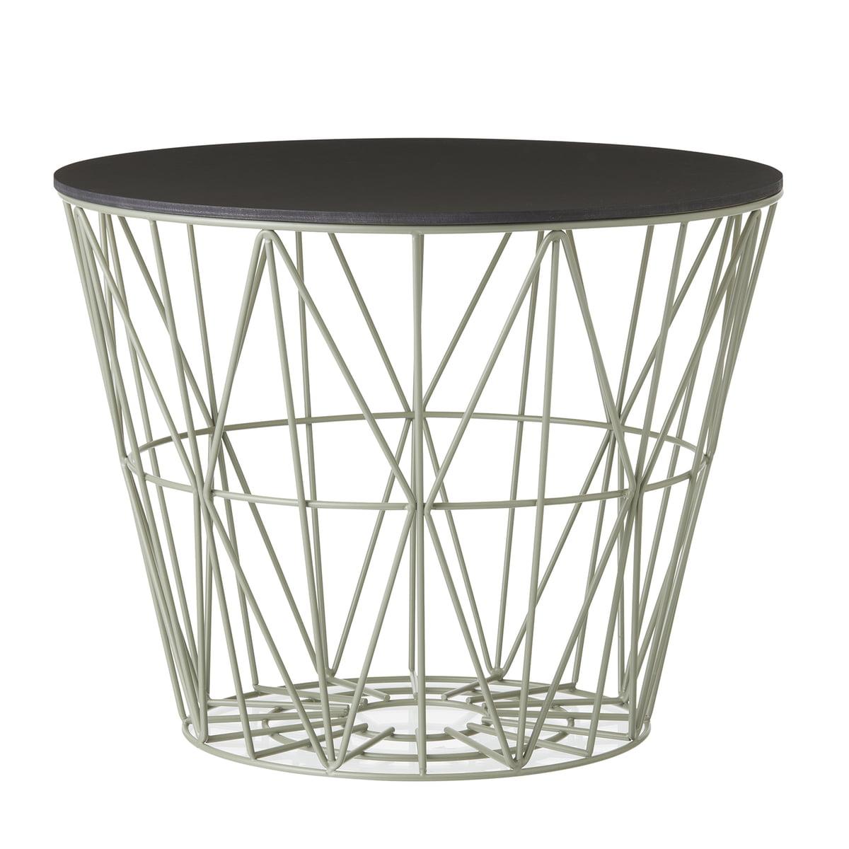 Wire Basket In Dusty Green Mit Top Schwarz Gebeizt Von Ferm Living