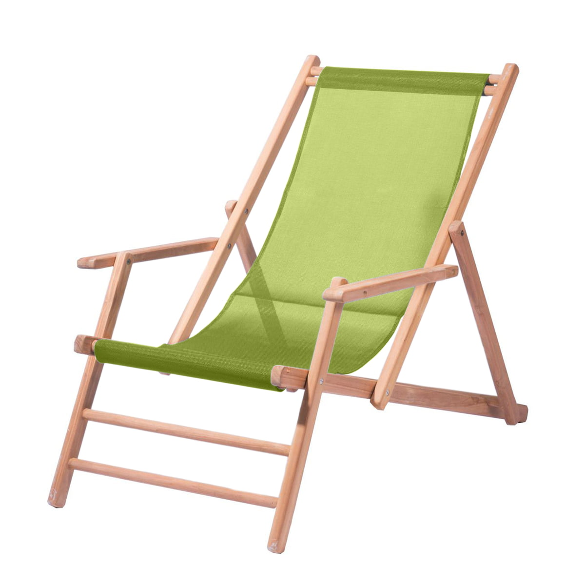 Deckchair Teakholz, Bezug Kunststoffgewebe pistazie