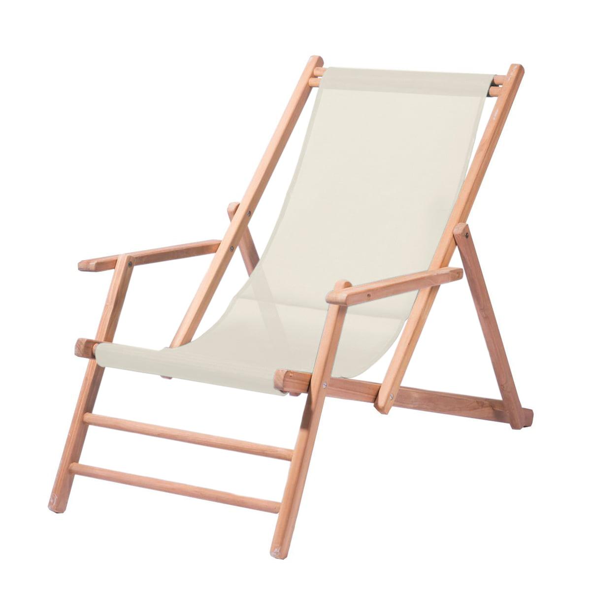 Deckchair Teakholz, Bezug Polyacrylgewebe natur