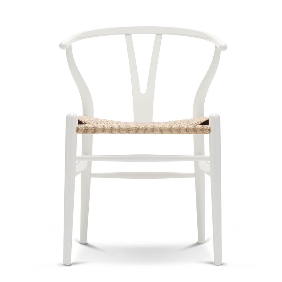 Carl Hansen - CH24 Wishbone Chair, Buche weiß / Naturgeflecht