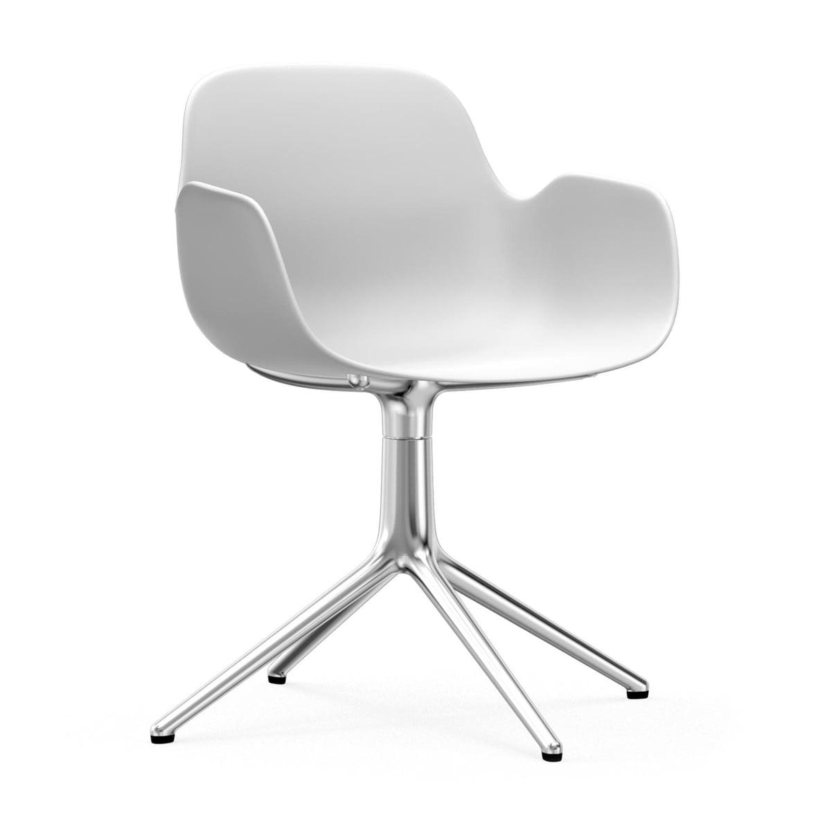 Normann Copenhagen - Form Drehsessel, Aluminium / weiß