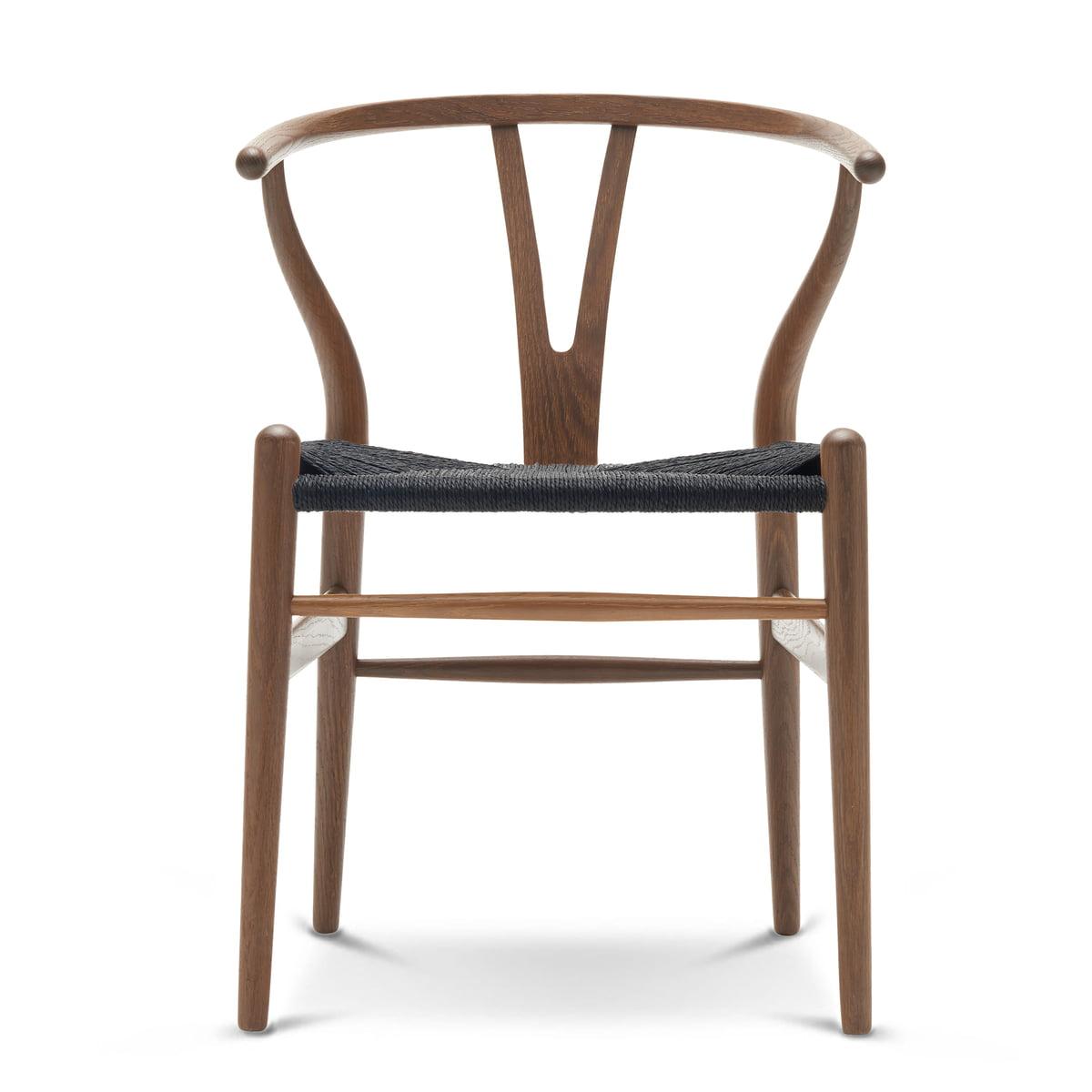 Carl Hansen - CH24 Wishbone Chair, Eiche geräuchert und geölt / schwarzes Geflecht
