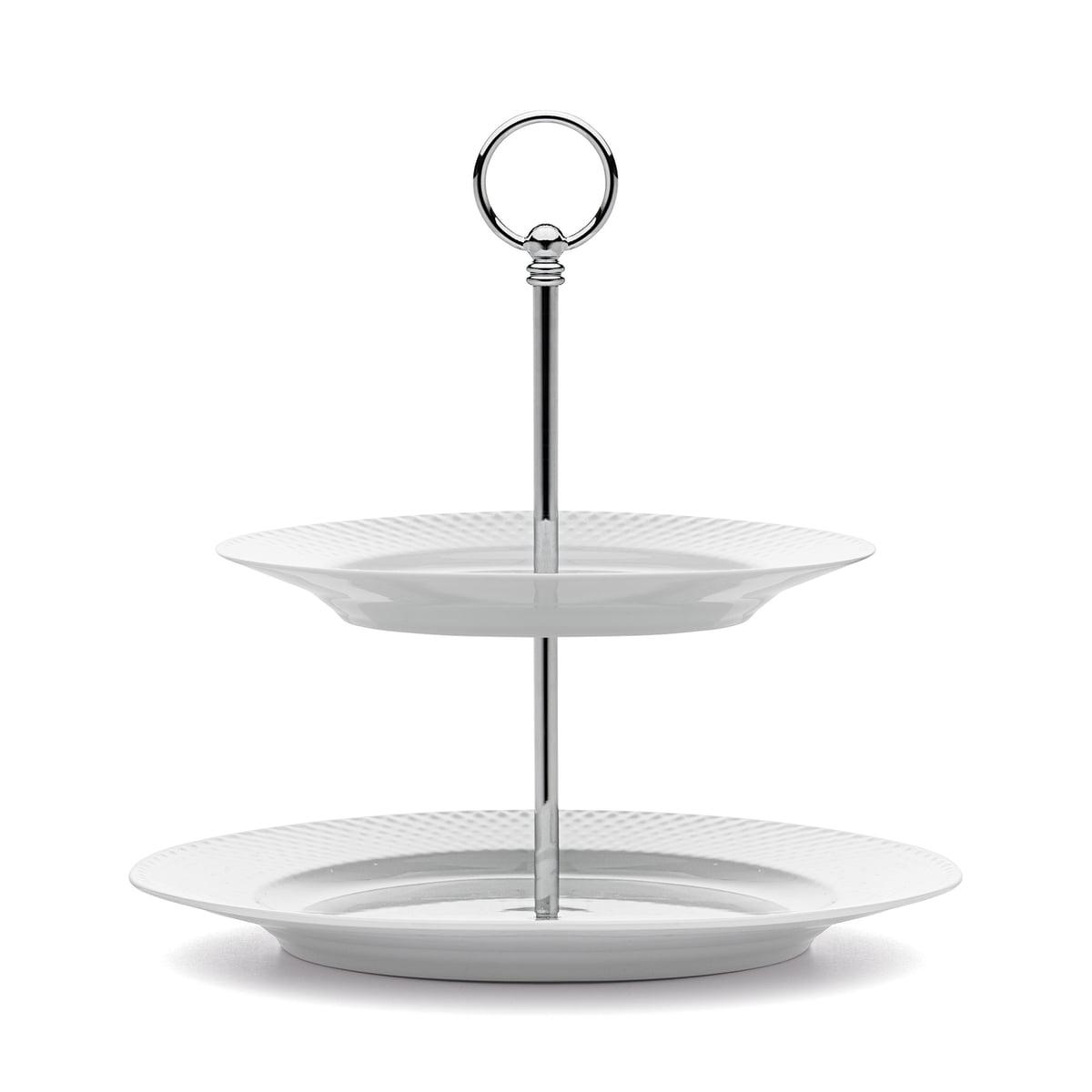 Lyngby Porcelæn - Rhombe Etagere Ø 27 cm, weiß