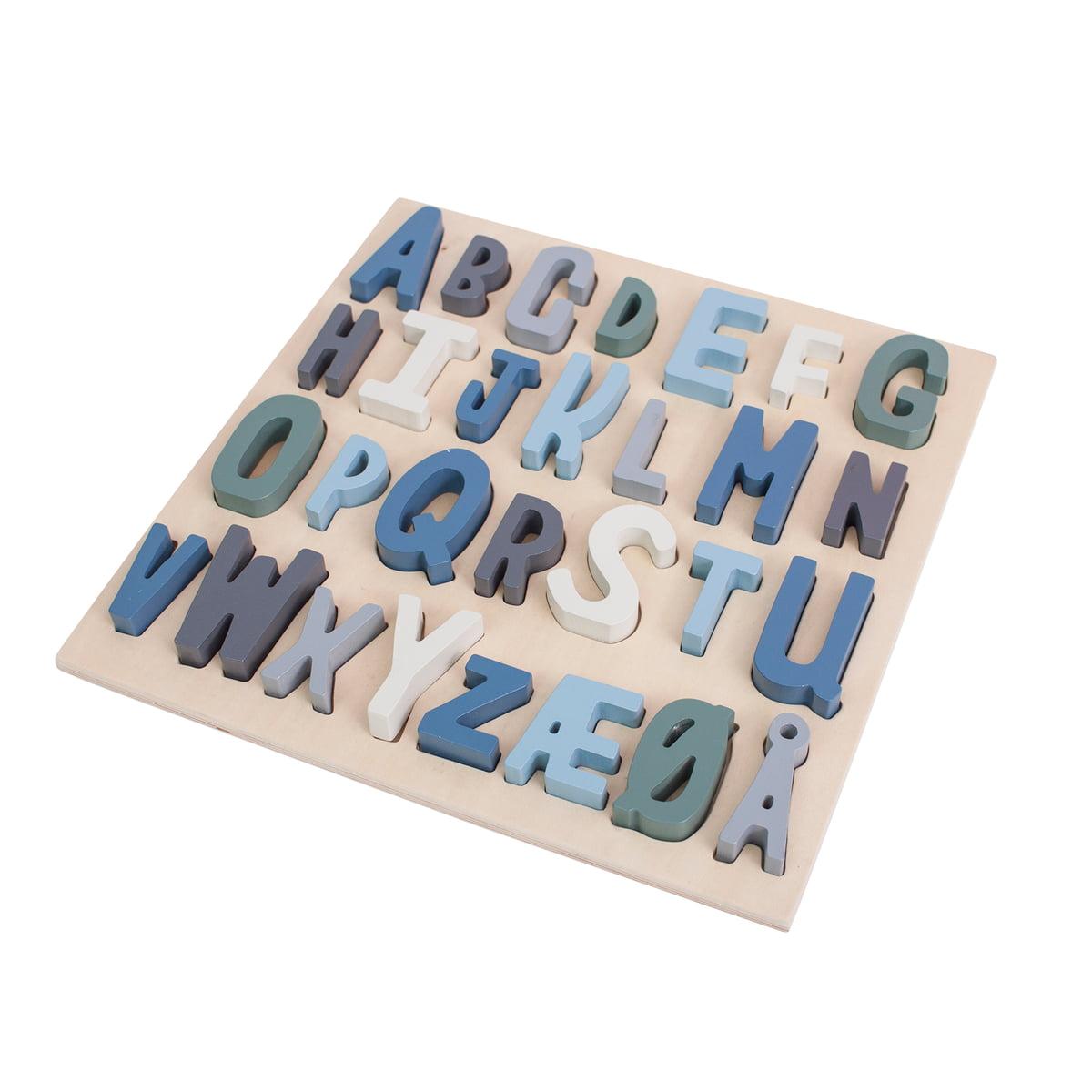 Sebra - Wooden Puzzle ABC (dänisch), royal blue | Kinderzimmer > Spielzeuge > Sonstige Spielzeuge | Sebra