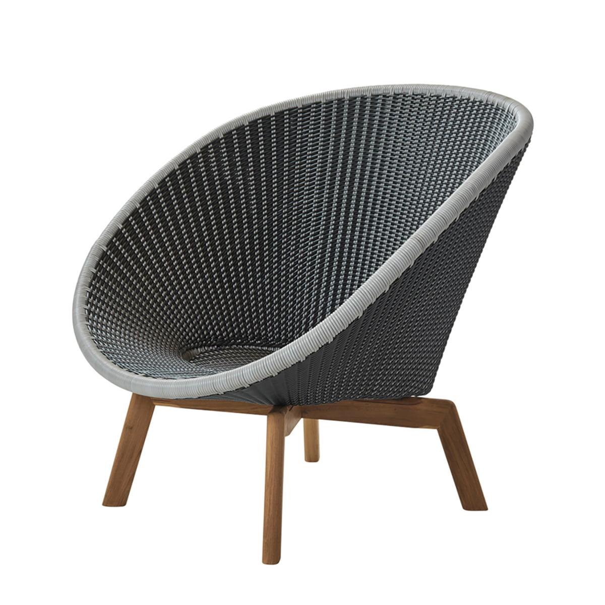 Cane-line - Peacock Lounge Sessel (5458), Teak / grau / hellgrau