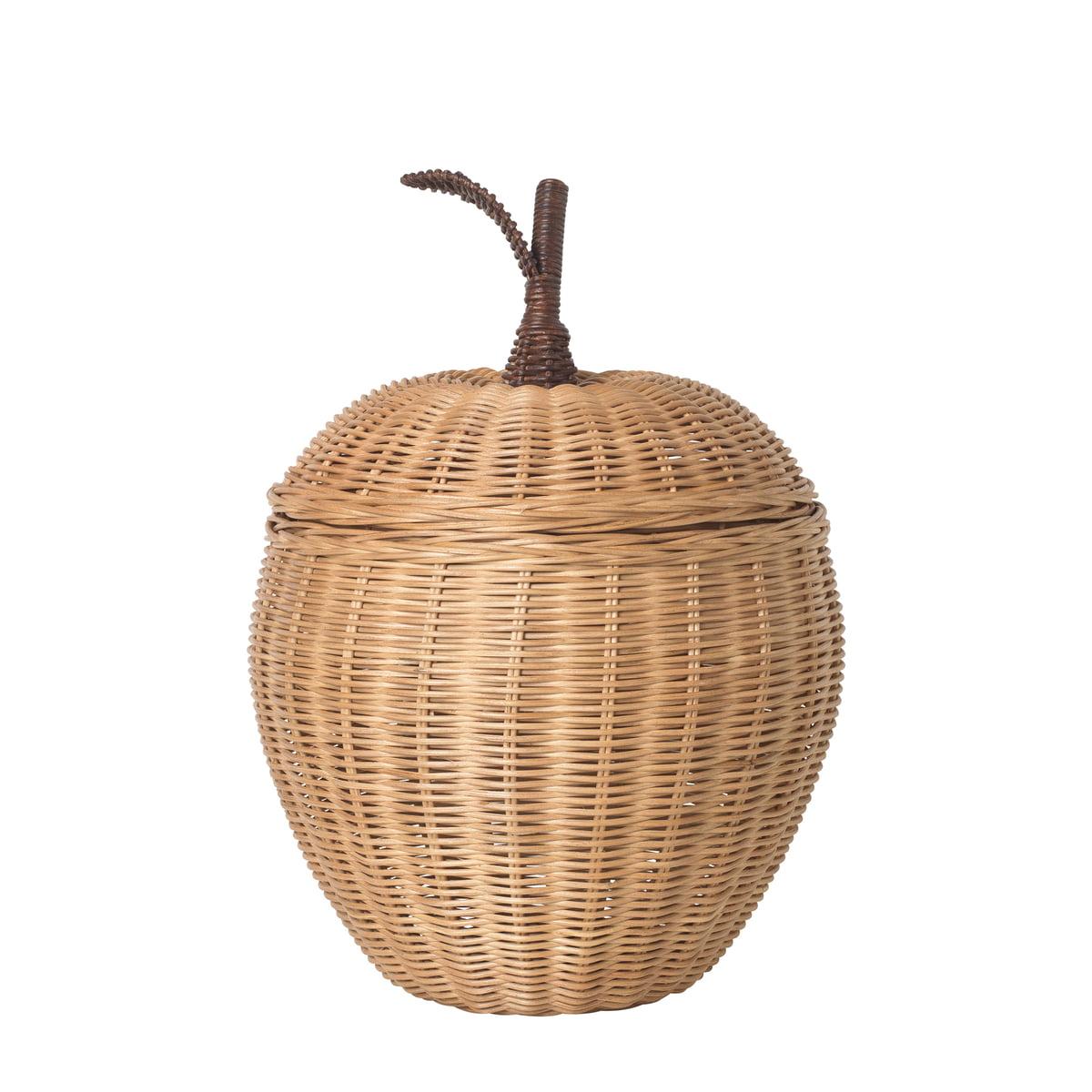 ferm LIVING - Geflochtener Apfel-Aufbewahrungskorb, Ø 19 x H 30 cm, Rattan