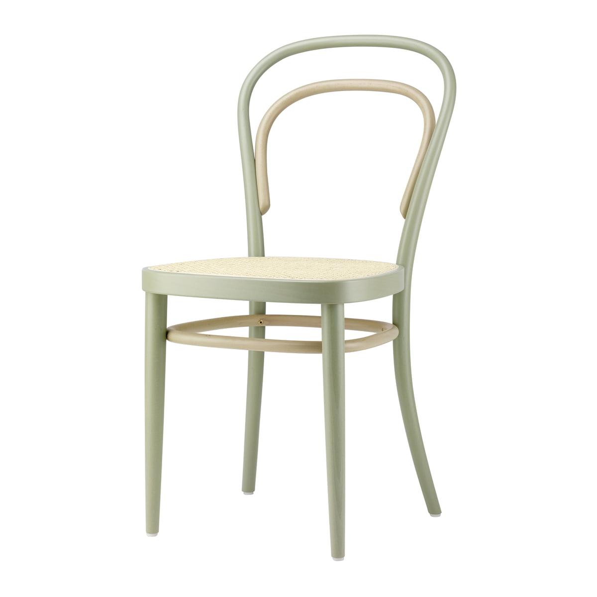 Thonet - 214 Bugholzstuhl, Rohrgeflecht mit Kunststoffstützgewebe / Buche Two-Tone Salbei (Sonderedition) | Küche und Esszimmer > Stühle und Hocker > Holzstühle | Thonet