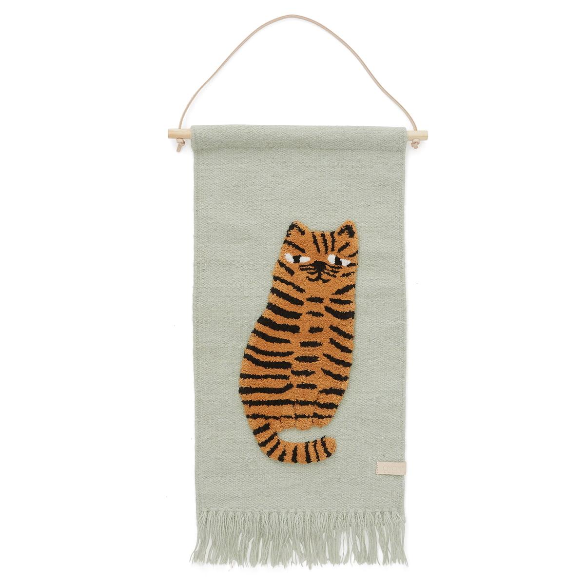 OYOY - Kinder-Wandteppich mit Tiermotiv, Tiger / grün
