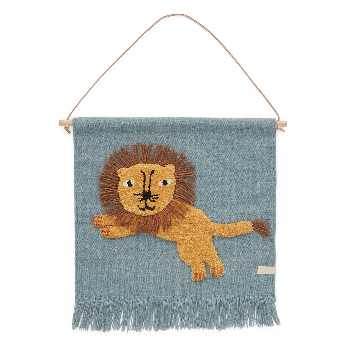 OYOY - Kinder-Wandteppich mit Tiermotiv, Löwe / tourmaline