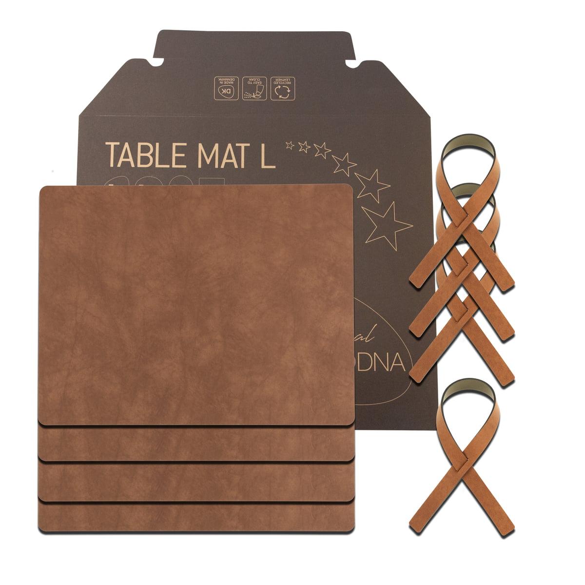 LindDNA - Geschenkset Square L, Nupo natur (4 Tischsets + 4 Serviettenringe) | Heimtextilien > Tischdecken und Co > Tisch-Sets | LIND DNA