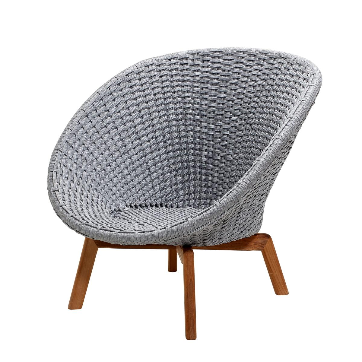 Cane-line - Peacock Lounge Sessel (5458), Teak / hellgrau