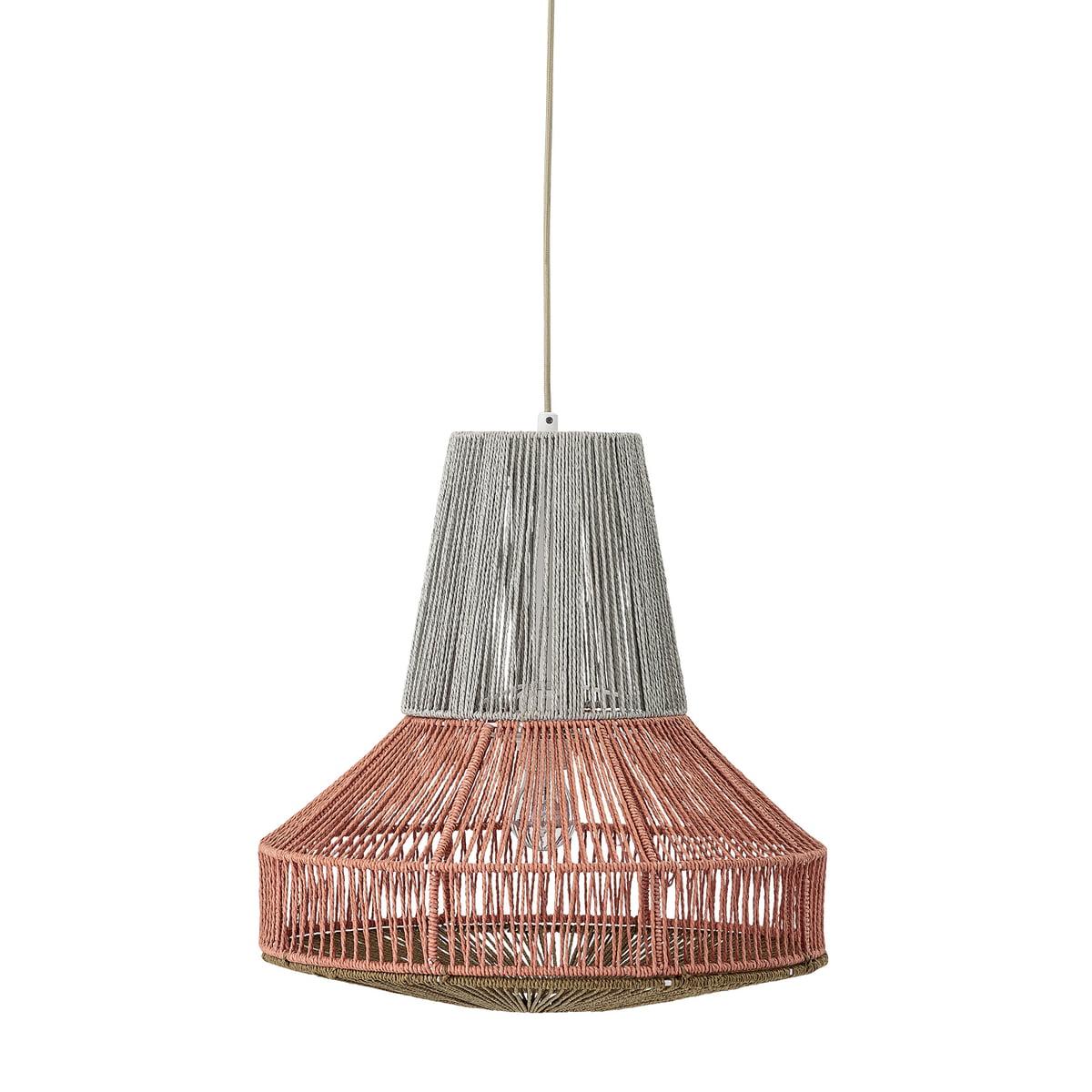Bloomingville - Pendelleuchte aus Baumwolle, Ø 45 x H 45 cm, grau / rot
