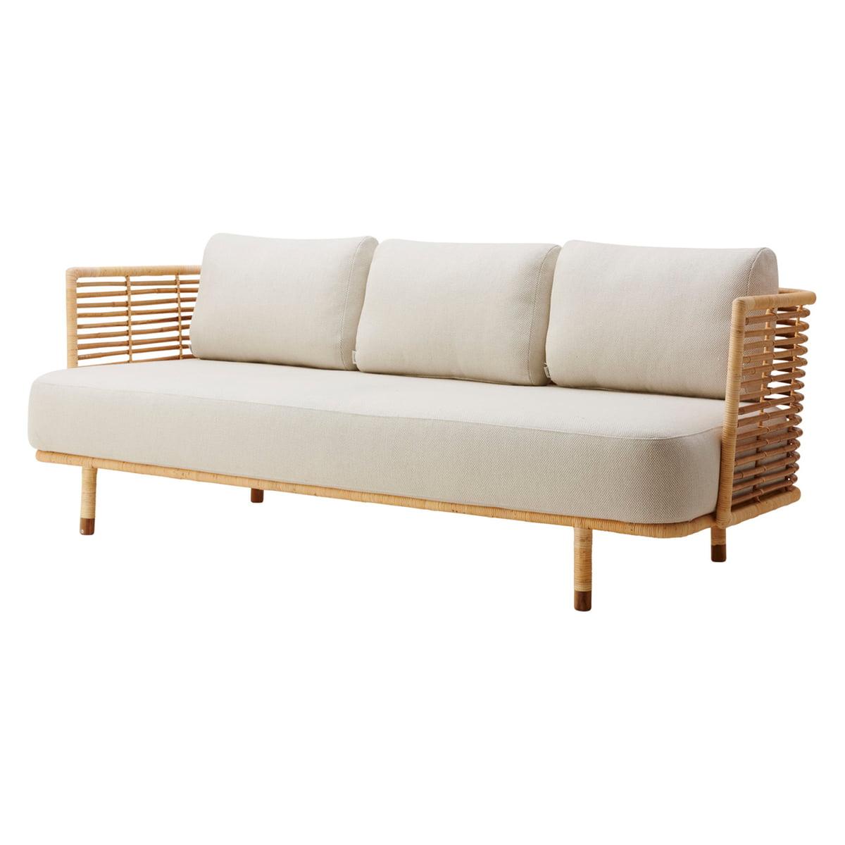 Cane-line - Sense 3-Sitzer Sofa Indoor, natur / off-white