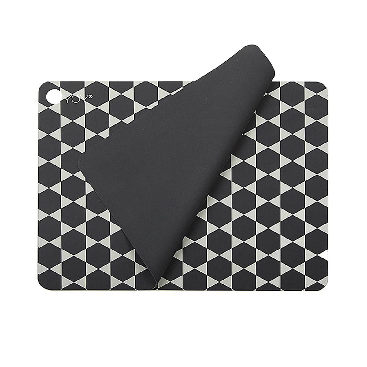 OYOY - Tischsets Hexagon, dunkelgrau (2er-Set)