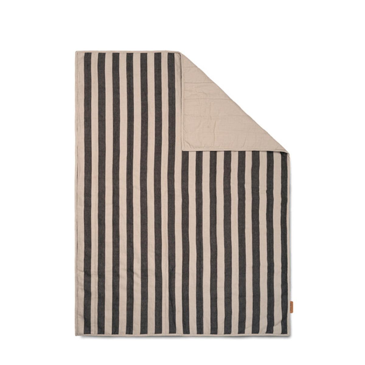ferm LIVING - Grand Decke, 120 x 170 cm, sand / schwarz