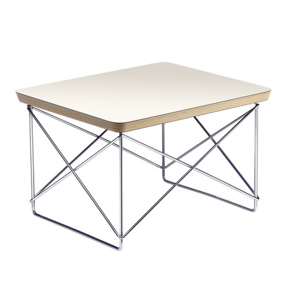 Eames Occasional Table LTR von Vitra in HPL Weiß / Chrom