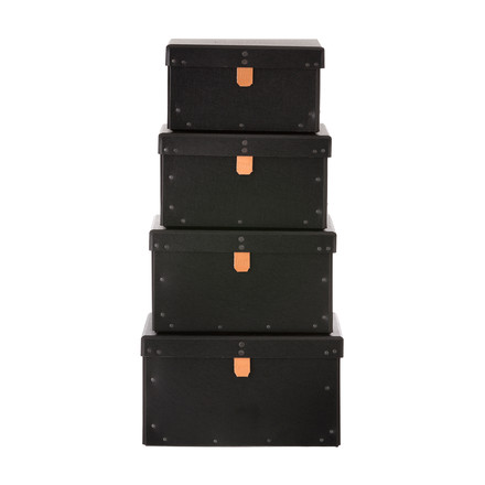 Ferm Living - Boxes, 4er-Set, schwarz