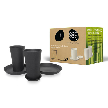 8pandas - Kaffee / Tee-Set 6 Teile, black-graphite