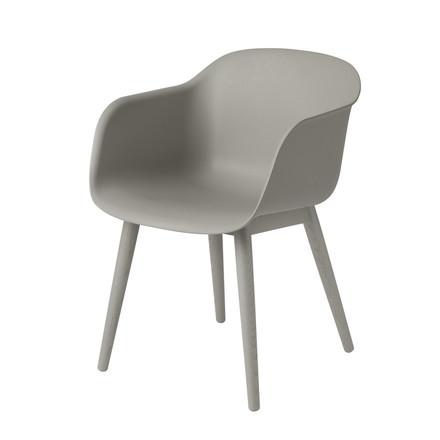Muuto - Fiber Chair - Wood Base, grau / grau