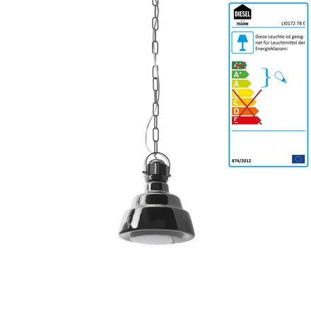 Diesel Living - Glas Pendelleuchte, piccola in Chrom