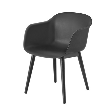 Muuto - Fiber Chair - Wood Base, schwarz / schwarz