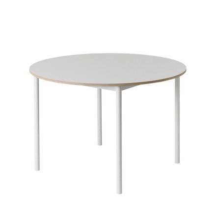 Muuto - Base Table Ø 110 cm in Weiß mit Sperrholzkante