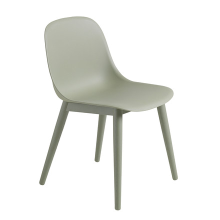 Muuto - Fiber Side Chair Wood, dusty green / dusty green
