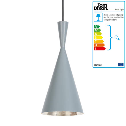 Beat Light Tall Pendelleuchte von Tom Dixon in Grau