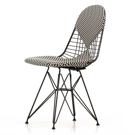 Vitra - Wire Chair DKR-2 Bikini, Hopsak Checker, Gestell schwarz, Filzgleiter (basic dark)