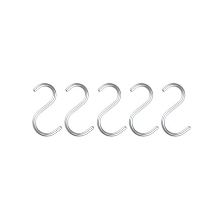 Nomess - S-Hook, mini, alu silber, 5er-Set