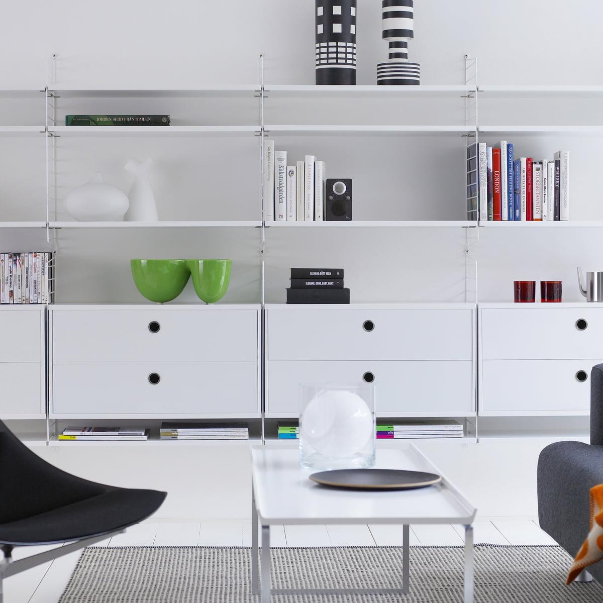 Wandregalsystem design  Regalsystem von String im Wohndesign-Shop