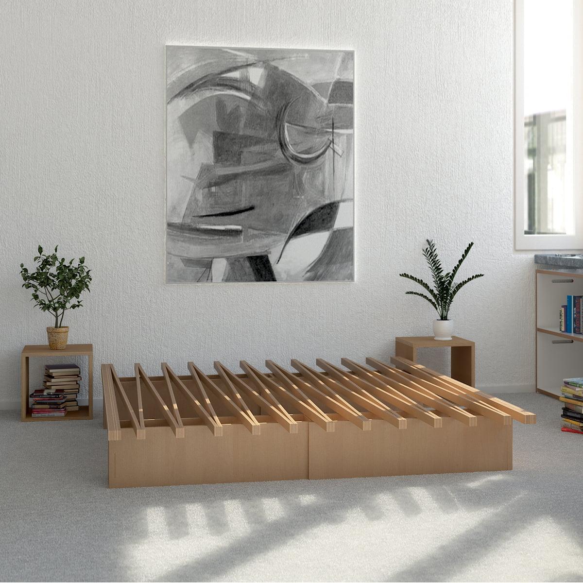 Holzbett design  v Bett | Tojo | Shop