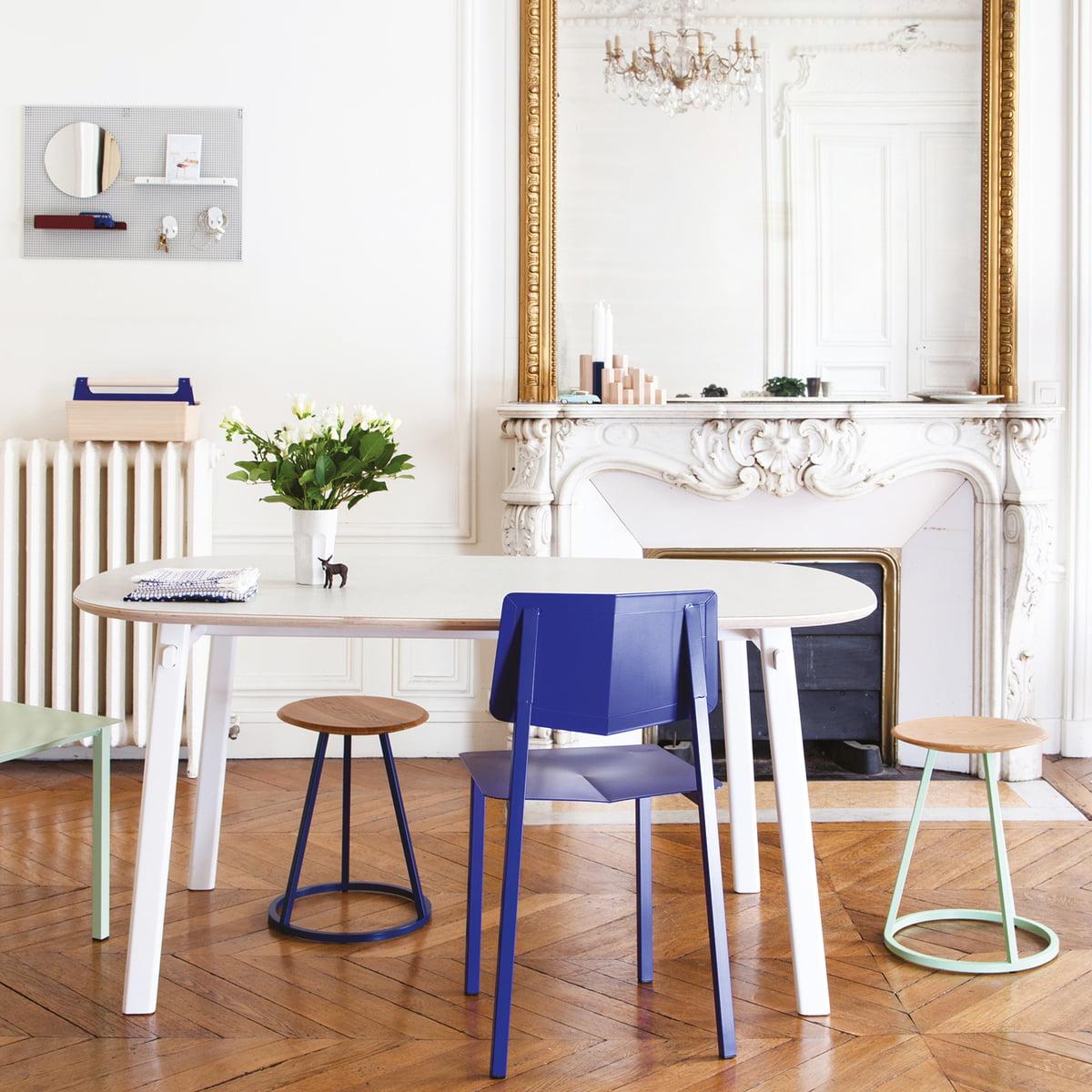 Hartô - Petit Gustave Hocker| Eiche / weiß (RAL 9016) | Wohnzimmer > Hocker & Poufs | Hartô