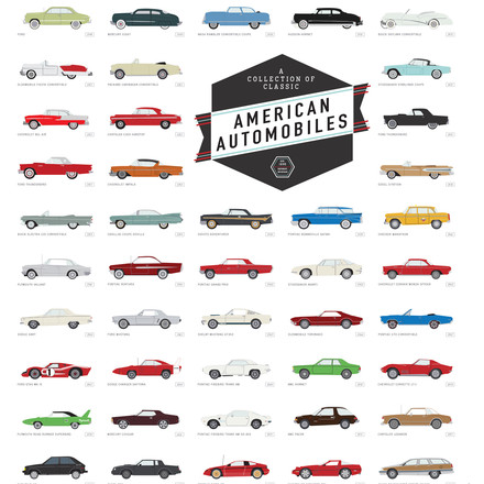 A Collection of Classic American Automobiles von Pop Chart Lab