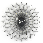 Vitra - Sunflower Clock, Esche schwarz / Messing