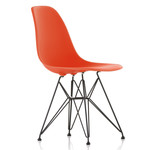 Vitra - Eames Plastic Side Chair DSR (H 43 cm), pulverbeschichtet / poppy red, Filzgleiter (schwarz)