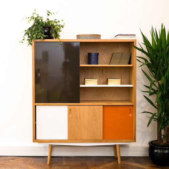 red edition - Fifties High Cabinet, schokolade / orange