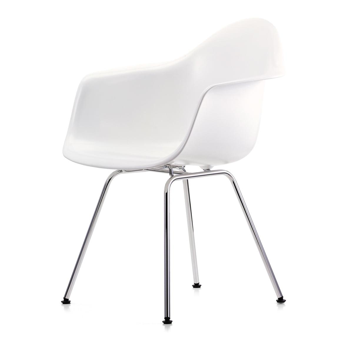 Vitra - Eames Plastic Armchair DAX, verchromt / weiß (Kunststoffgleiter basic dark)   Küche und Esszimmer > Stühle und Hocker > Armlehnstühle   Weiß   Vitra