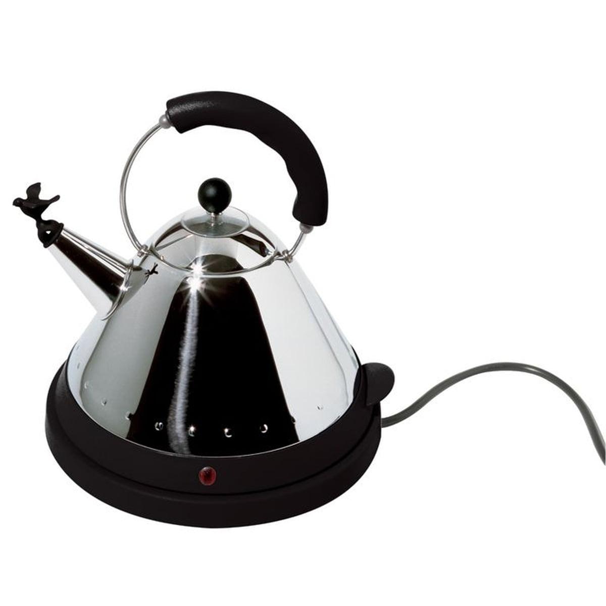 Alessi - MG32 B, elektrischer Wasserkessel (EU) | Küche und Esszimmer > Küchengeräte > Wasserkocher | Schwarz | Edelstahl glänzend poliert mit griff und aufsatz aus pa -  schwarz | Alessi