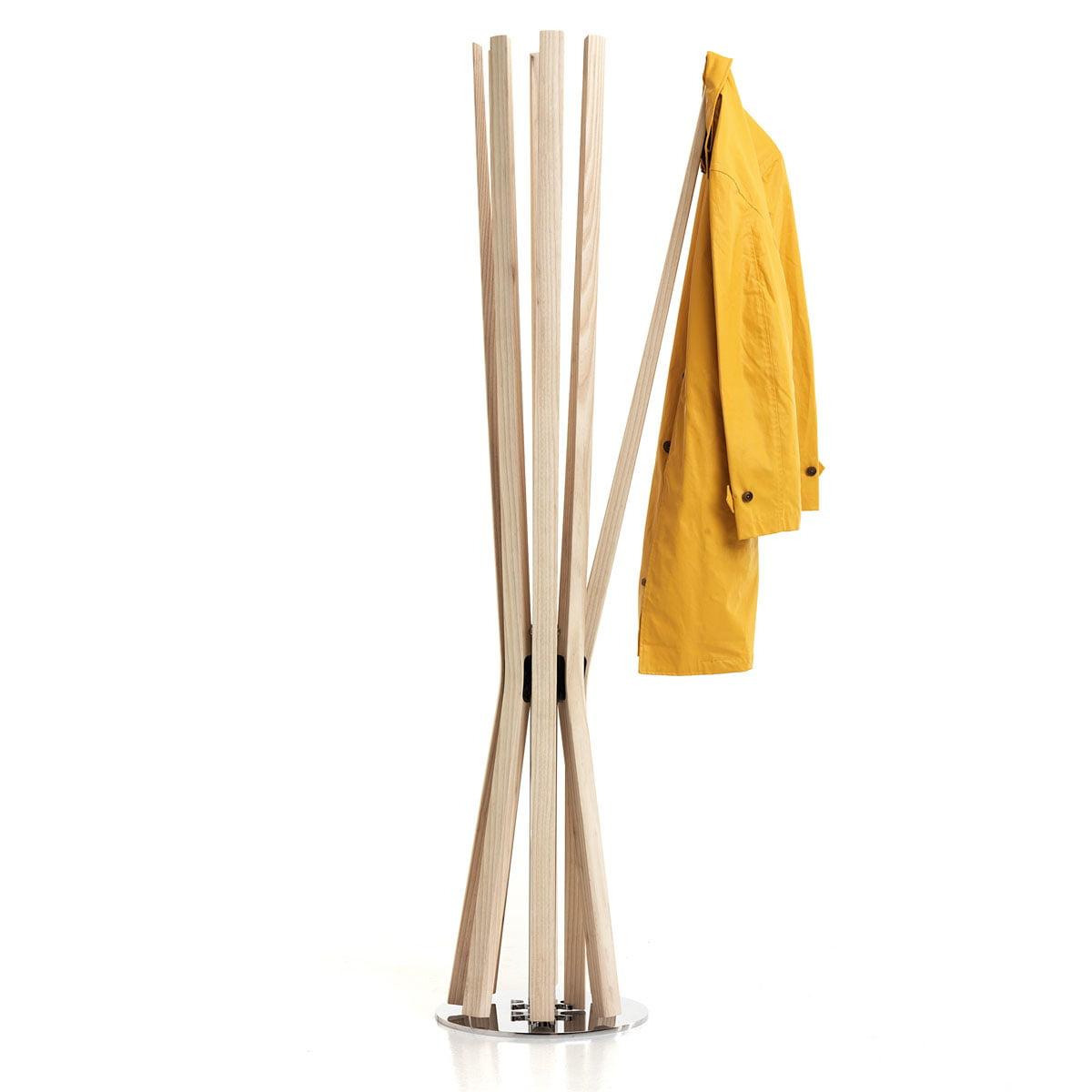 Baleri Italia - Bloom achtarmiger Kleiderständer, Arme aus massiver Esche | Flur & Diele > Garderoben | Esche natur | Esche -  verchromter stahl | Baleri Italia