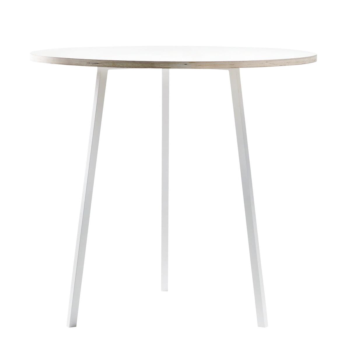 Hay - Loop Stand Round Bistrotisch, weiß / weiß | Küche und Esszimmer > Bar-Möbel > Bar-Stehtische | Weiß | Platte aus laminat mit kante aus sperrholz -  beine aus pulverbeschichtetem stahl | Hay